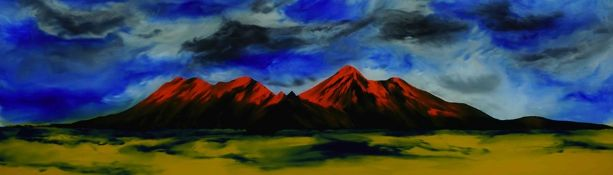 """Ken Cowins (English, B.1955) """"Sun Tipped Mountains"""", oil on glass, signed lower right on glass,"""
