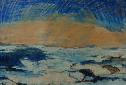 """Lida Hatrick (Czech/Scottish, B.1950) """"Eildons from Westruther"""", oil pastel & oil on board, initials"""