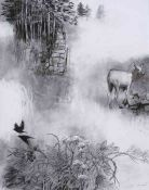 """George Donald RSA RSW (Scottish, B.1943) """"Edge Of The Moor"""", charcoal & conte on board, signed to"""