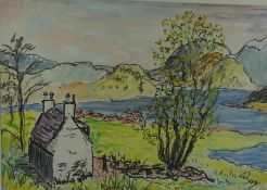 "Guy Allan (20th Century) ""Cottage by the Loch"" Watercolour, 34cm x 49cm, Signed Guy to lower right"