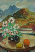 "Guy Allan (20th Century) ""Still Life of Flowers and Fruit on Table"" With Mountains to the Landscape,"