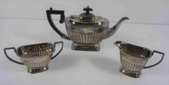Silver Three Piece Tea Service, Hallmarks for E H Parkin & Co Sheffield, Comprising of a Tea Pot,