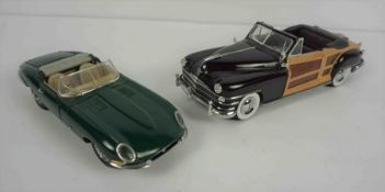 Franklin Mint Precision Model of a 1961 Green Jaguar E Type, Also with a 1948 Chrysler Town &