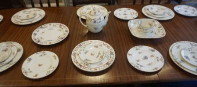 """Royal Worcester """"Chinese Style"""" Part Pottery Dinner and Tea Set, Decorated with panels of Pagodas,"""