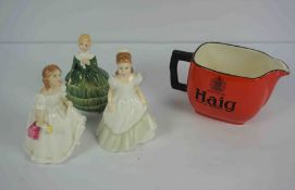 Three Royal Doulton Porcelain Statuettes, Comprising of Kerry HN 3036, Belle HN 2340, Lynsey HN