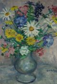 "G.A. Matheson ""Still Life of Flowers in a Vase"" Oil on Canvas, Signed lower right, 49cm x 39cm,"