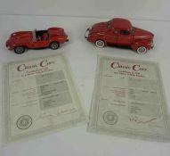 Two Danbury Mint Model Classic Cars, Comprising of a 1958 Ferrari Red 250 Testa Rossa, Body style
