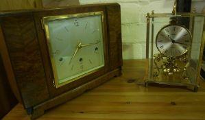 Elliot Walnut Mantel Clock, 22cm High, 30cm wide, Lacking pendulum, Also with a Kundo Quartz