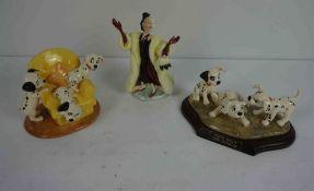 """Royal Doulton Disney,s 101 Dalmations Figures, Comprising of """"Cruella De Vil"""" No DM 1, """"Pups in"""