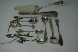 Mixed Lot of Continental Silver and White metal Flatware, To include a Silver Cake Lift, Three Tea