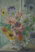 "Mary Ethel Hunter ""Still Life of Flowers in a Vase"" Oil on Board, Signed indistinctly to lower left,"