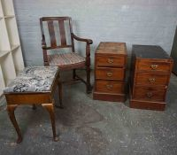 Oak Elbow Chair, 93cm high, Also with a Piano Stool, And a pair of Victorian Mahogany Desk