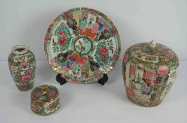 Four Pieces of Chinese Famille Rose Pottery, 20th century, To include a Plate and Vase with cover,
