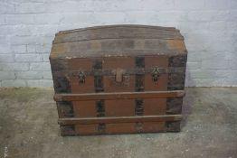 Vintage Wood Bound Travel Trunk, Having a Hinged top, 57cm high, 79cm wide, 53cm deep