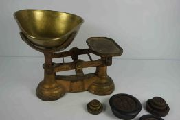 Fairbanks of Birmingham, Cast Iron and Brass Kitchen Scales, circa early 20th century, With assorted