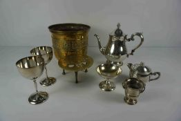 Quantity of Silver Plate and Brass Wares, To include Cake Knives and Forks, Tea Set, Comport,