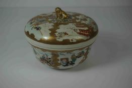 Japanese Satsuma Bowl with Cover, Having a Kilim Dog finial, Decorated with panels of Samurai