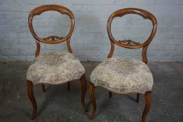 Pair of Victorian Walnut Balloon Back Parlour Chairs, Having a Stuffover seat, With Sabre front