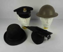 Military Steel Helmet, With Chin Strap, circa 1940s, Also with a British Railway Station Porters