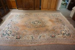 Chinese Style Carpet, Decorated with Floral Medallions on a Pink ground, 369cm x 280cm