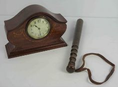 Edwardian Mahogany Inlaid Mantel Clock, Having a French movement, 18cm high, 23cm wide, Also with