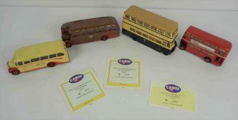Four Corgi Model Buses, Comprising of a Bedford Q - B - Coach, AEC Regal Coach, London Red Bus, No 9
