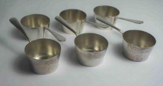 Set of Six Silver Plated Brandy Pans, 3cm high, 10cm long, (6)