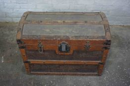 Vintage Wood Bound Travel Trunk, Having a Hinged top enclosing a Fitted interior, 21cm high, 79cm