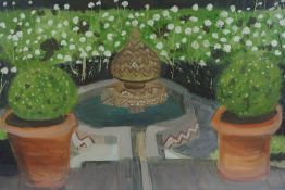 "Contemporary ""Garden Scene"" Mixed Media, 39cm x 71cm, Initialled to lower left"