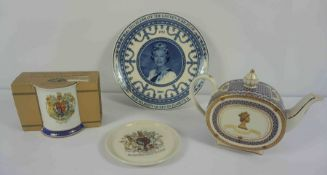 Collection of Commemorative Wares, To include a Sadler Tea Pot and A Wedgwood Plate, In a Travel