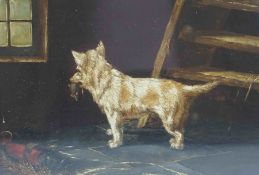 "After De Vos ""Dog with Catch"" Oil on Board, 16.5cm x 23.5cm"