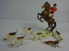 Beswick Porcelain Hunting Group, Comprising of a Huntsman on Horseback, With five Hounds and Fox,