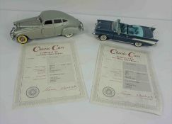 Two Danbury Mint Model Classic Cars, Comprising of a 1957 Chevrolet Blue Bel Air Covertable, And a