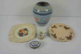 Quantity of China, To include Enoch Wedgwood Coffee Cans, with Silver Plated Liners, Patch box,