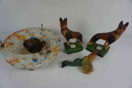 1950s Mottled Glass Light Shade, Also with a pair of Plaster Dog figures, And a Knome figure,