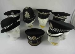 Collection of Police Caps, To include a Metropolitan Police Inspector and Chief Inspector Cap,