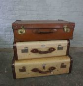 Two Vintage Luggage Cases, Having label for Airport, Also with another Vintage Luggage Case, (3)
