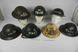 Collection of WWII and Later Steel Police Helmets, To include an Inspector Issue Helmet, Home