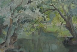 "B.Griffin (British) ""Lake Scene with Trees"" Oil on Board, Signed to lower right, 29cm x 39.5cm"