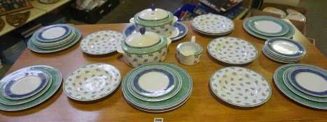 Villeroy & Bosch Porcelain Dinner Set, Decorated with panels of Ferns on a white ground, 34 pieces