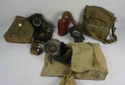 Three Military Issue Gas Masks, With Canvas Carry Satchels, (3)