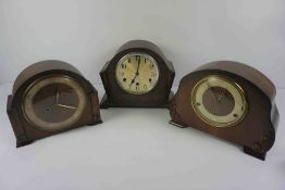 Three Art Deco Oak Mantel Clocks, To include an example by Smiths, 23cm high, (3)