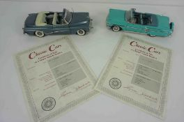 Two Danbury Mint Model Classic Cars, Comprising of a 1958 Chevrolet Turquoise Impala Convertable,