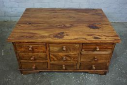 Hardwood Coffee Table / Chest, Having a Hinged top and nine small Drawers to the front, 45cm high,