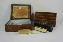 Mixed Lot of 19th Century and Later Collectables, To include a Papier Mache Box, Walnut Marquetry