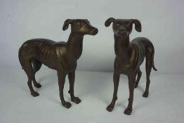 Pair of Bronze Effect Metal Figures of Greyhounds, 28cm high, 37cm wide, (2)