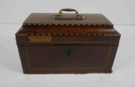 George III Mahogany Sarcophagus Tea Caddy, Having later Covers to the interior, 17cm high, 28cm wide