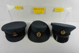 Three RAF Caps, Comprising of a Male Peaked Cap, Junior Officers Crusher Cap, and a Female Dress