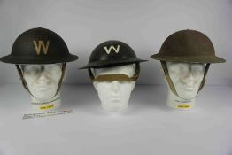 Two WWII British Home Front Warden Steel Helmets, For Air Raid / Civil Defence, Also with a Home