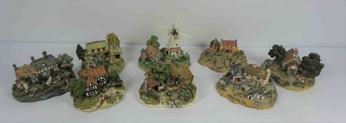 """Eight Danbury Mint House Models by Jane Hart, To include """"School Days"""" """"The Village Smithy"""" """"The"""